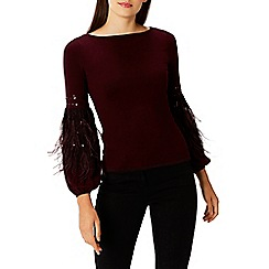Coast - Merlot embellished feather 'Squires' knit top