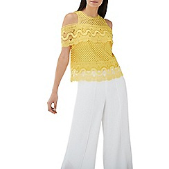 Coast - Yellow lace 'Fabron' cold shoulder top