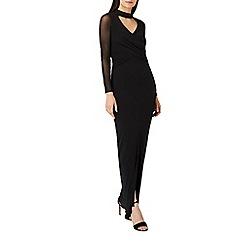 Coast - Black jersey 'Oria' choker long sleeve wrap maxi dress