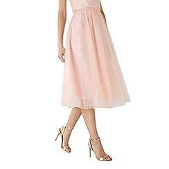 Coast - Blush pink pearl 'Pearla' midi bridesmaid skirt