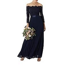 Coast - Navy lace 'Imi' bardot long sleeve maxi bridesmaid dress