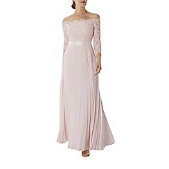 Coast - Blush pink lace 'Imi' bardot long sleeve maxi bridesmaid dress