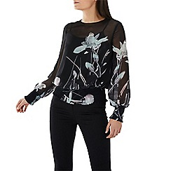 Coast - Black floral print 'Bianca' shirred long sleeve top