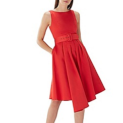 Coast - Red cotton 'Isabelle' belted fit and flare dress