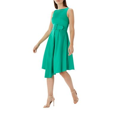Coast   Green 'isabelle' Belted Cotton Dress by Coast
