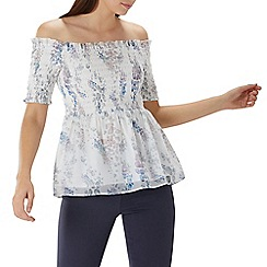Coast - Ivory floral print 'Priya' shirred bardot top