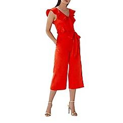Coast - Red 'Avia' ruffle wrap crop jumpsuit