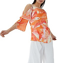 Coast - Orange floral print 'Jayda' cold shoulder top