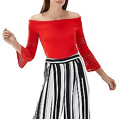 Coast - Red knit 'Sherri' stripe sleeve bardot top
