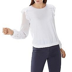 Coast - White 'Elena' lace sleeve sweater