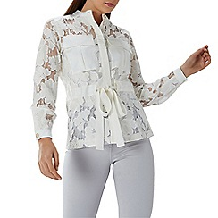 Coast - White 'Arianna' lace tie waist sheer jacket