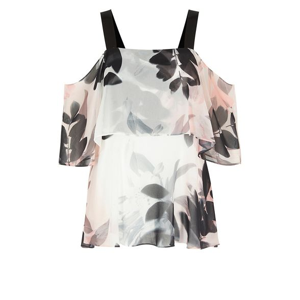 bardot top 'Drake' shoulder cold Floral print Coast WUqxF0Xn