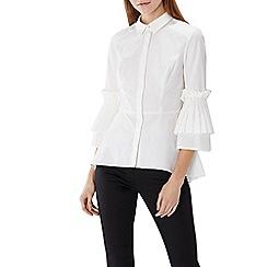 Coast - Ivory pleated 'nico' pearl embellished shirt