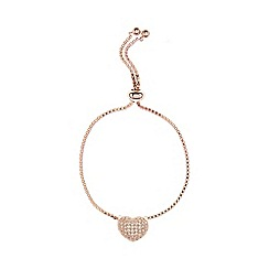 Coast - Rose gold 'Amor' slender heart bracelet