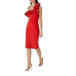 Coast - Red 'Lina' ruffle shoulder shift dress