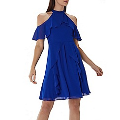 Coast - Cobalt blue 'Montana' cold shoulder ruffle dress