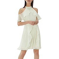Coast - Lime 'Montana' cold shoulder ruffle dress