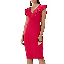 Coast - Raspberry red 'Bonita' ruffle shift dress