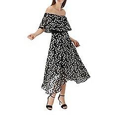 Coast - Monochrome geometric print 'Ada' bardot midi dress