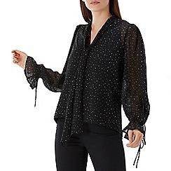 Coast - Black spotted 'Elaine' pussybow blouse