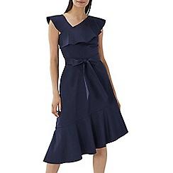 Coast - Navy 'Jade' asymmetric cotton ruffle dress