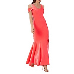 Coast - Coral pink 'Revel' cold shoulder scuba maxi dress