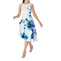 Coast - Blue floral print 'Spears' scuba midi dress