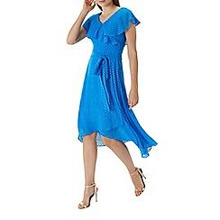 Coast - Blue 'Dobby' wrap ruffle dress