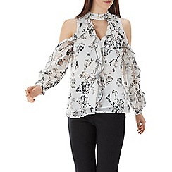 Coast - Floral printed 'Becky' frill detail top