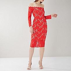 Coast - Red 'Yasmin' bardot floral lace dress