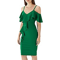 Coast - Green 'Dustin' cold shoulder shift dress