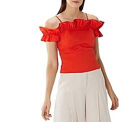 Coast - Tangerine orange 'Marilyn' cotton ruffle top