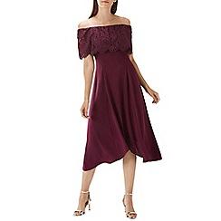 Coast - Purple merlot 'Oriel' lace bardot dress
