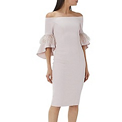Coast - Blush pink 'Sadie' feather trim shift dress