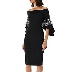 Coast - Black 'Sadie' feather trim shift dress