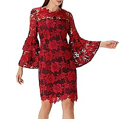 Coast - Red lace 'Elsa' bell sleeve shift dress