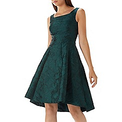Coast - Forest green 'Ava May' jacquard high low dress