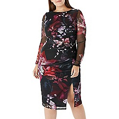 Coast - Floral printed 'Liberty' mesh dress - Curve