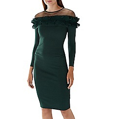 Coast - Forest green 'Francesca' ruffle knit dress