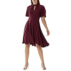Coast - Purple merlot 'Martha' knot neck dress