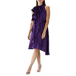 Coast - Purple 'Rose' ruffle tie neck dress
