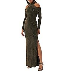 Coast - Gold 'Leanna' lurex cold shoulder maxi dress