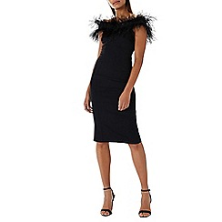 Coast - Black 'Holly' feather cocktail dress