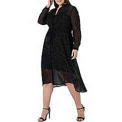 Coast - Black 'Karen' hotfix embellished shirt dress - Curve
