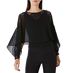Coast - Black 'Justine' lace overlay top