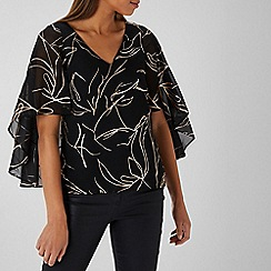 Coast - BLACK METALLIC PRINT CAPE TOP