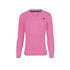 Raging Bull - Pink cotton v-neck jumper