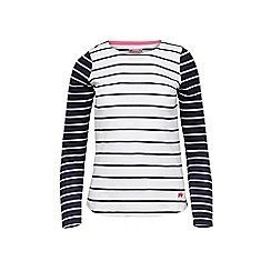 Raging Bull - White and navy long sleeves striped top