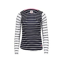 Raging Bull - Navy and white long sleeves striped top