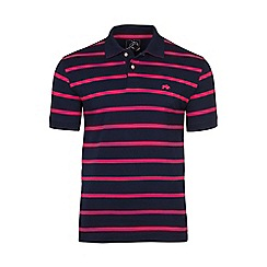 Raging Bull - Navy and pink thin stripe polo shirt